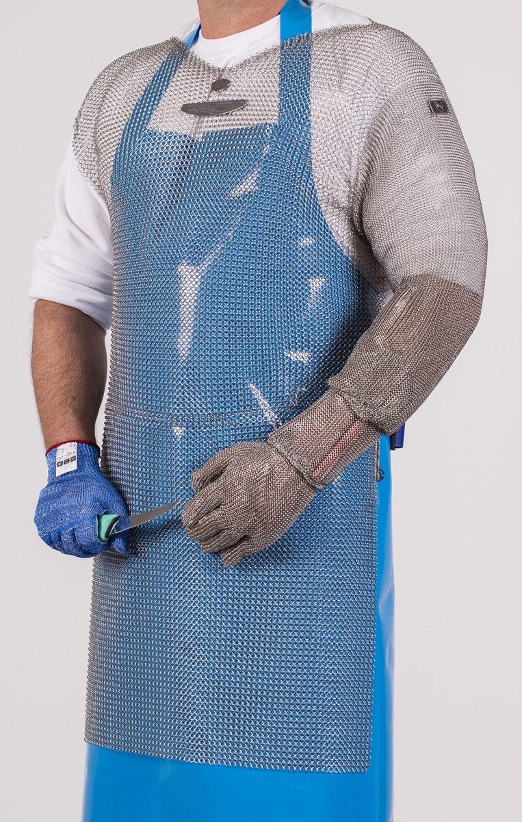 Officiële foto van een Niroflex Bolero with sleeve en roestvrijstalen- en snijwerende handschoenen